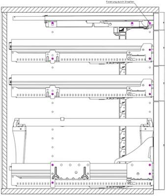 TEKENING CONTAINERS HETTICH CE KA270*Quadro 12*Duplex 25/45