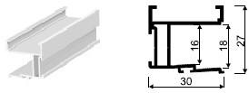 GREEPPROFIEL SQUARE SEVROLL CE alu RAL9005*vertikaal*L=2700mm